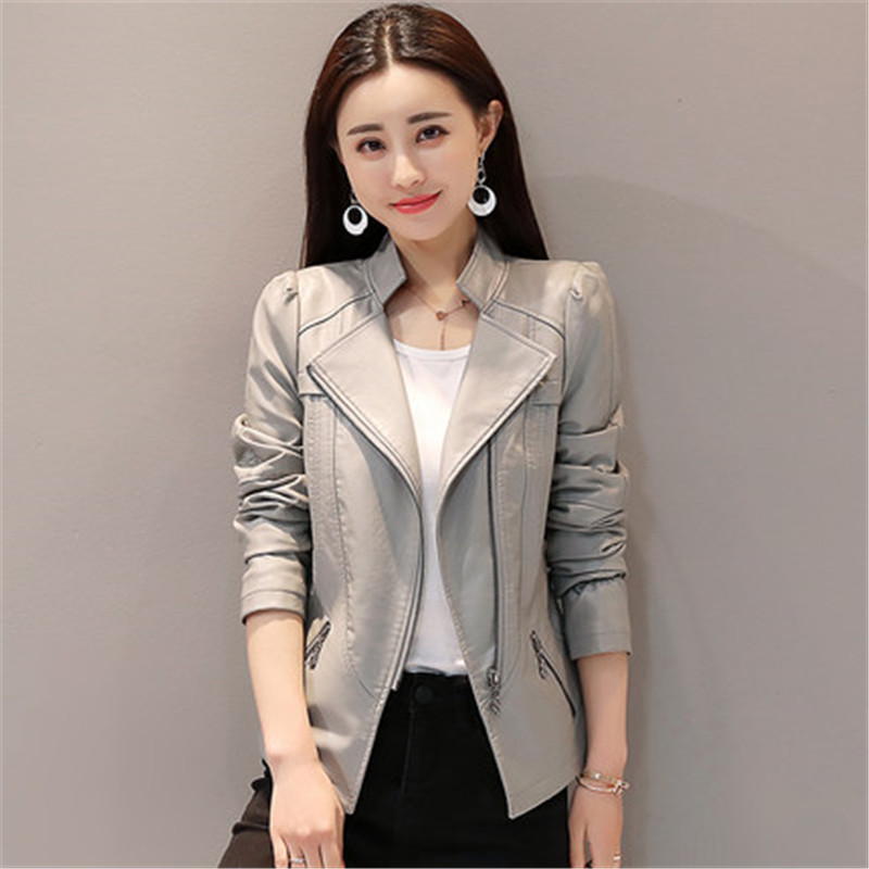 2019 New Spring Autumn Pu   Leather   Women Short Coats Korean Slim locomotive   Leather   Jacket Plus Size 4XL 5XL 6XL Outerwear V480