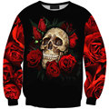 Harajuku 2015 New Arrivals Autumn Winter Women/Men Skull Red Rose Print  Hoodies Pullovers Casual Sweatshirts WomenSuits