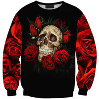 Harajuku 2015 New Arrivals Autumn Winter Women Men Skull Red Rose Print Hoodies Pullovers Casual Sweatshirts