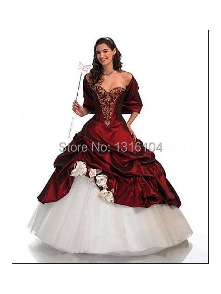 Antike Rote Weiße Brautkleider Nicht Weiß Schatz ballkleid Taft Mit ...