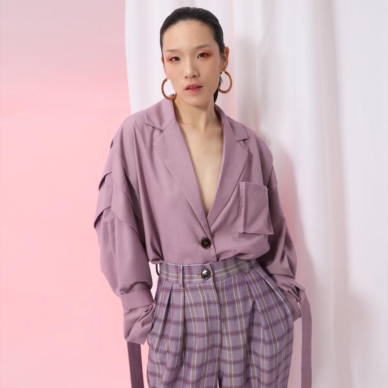 Taille Lâche De À Marée Longues Revers purple Veste Manteau Ji586 Abricot Nouveau Mode Apricot 2019 Manches eam Point Femmes Grande Ruban Printemps PxIOqn8g