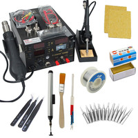 909 D110V or 220V 3in1 Hot Air Rework Solder Station Heat Gun Soldering iron Power Supply ForSMDSMT Welding Repair+Welding Gifts