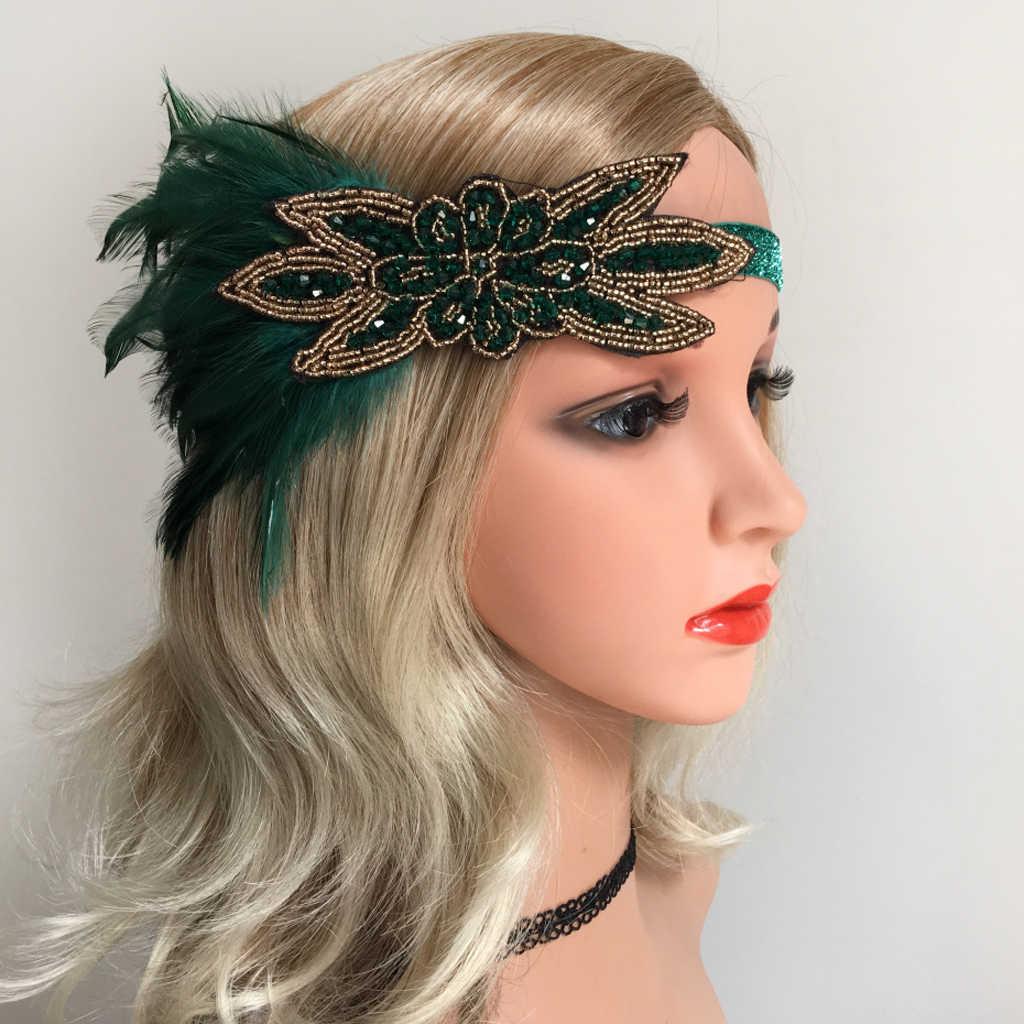 Ladies Elastic Feather Headband 1920s Gatsby Fascinator Forehead Headdress