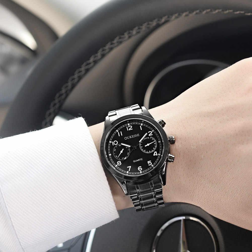 Ccq homens relógio de quartzo marca luxo negócios dois olhos banda aço inoxidável relógio de pulso militar moda novo 2019 a5