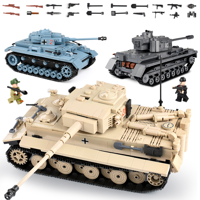 Tank Building Blocks Compatible Legoed City Military Weapons Bricks Action Soldier Fighter War Educational Tank Toys For Boys