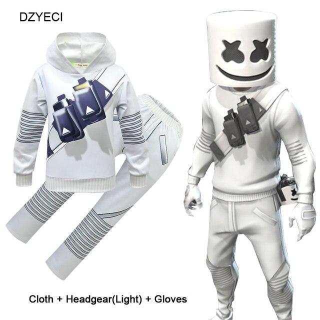 Marshmello DJ музыкальный бутик, наряд для подростков, комплект одежды для мальчиков, Fornite, детская маска + толстовка + штаны, костюм, детский спортивный костюм Ajax, 12 лет