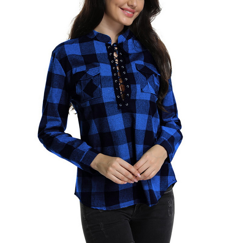 Litthing 2019 Spring Lengthy Sleeve Blouses Ladies Plaid Shirts Shirt Workplace Girl Cotton Lace Up Shirt Tunic Informal Tops Plus Dimension