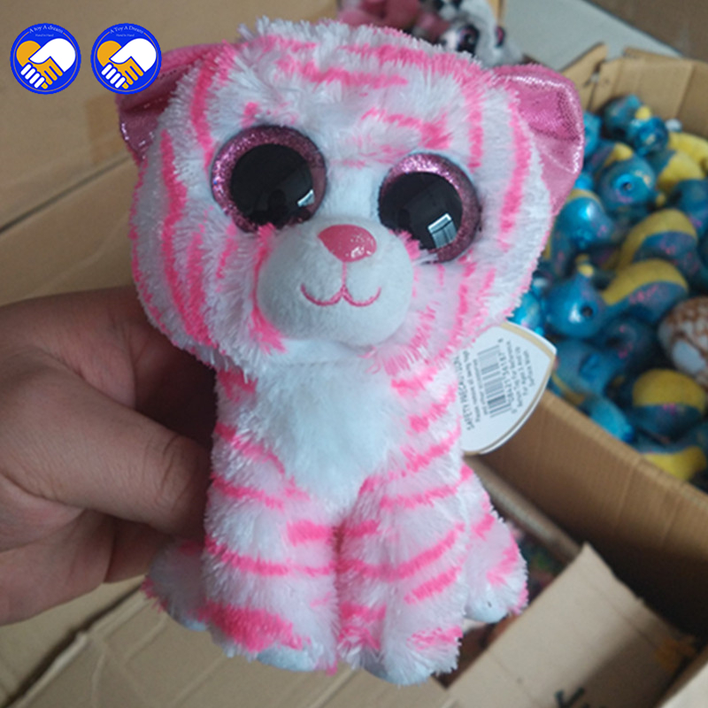 36a1e3694a5 A toy A dream Ty Beanie Boos Pink striped tiger 6inch Big Eyes Beanie Baby Plush  Stuffed Doll Toy Collectible Soft Plush Toys-in Stuffed   Plush Animals ...