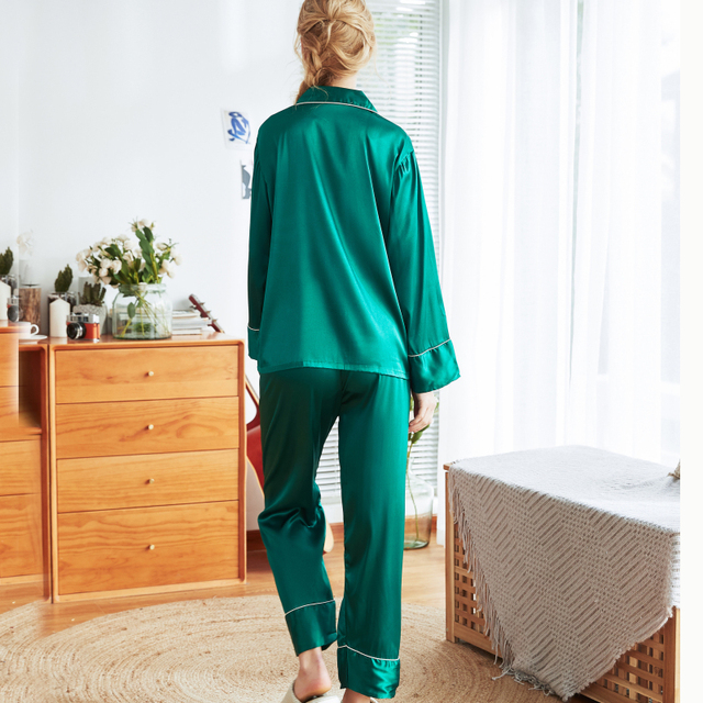 Women's Soft Green Silk Pyjamas