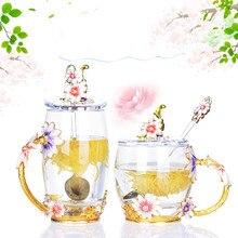 Креативная термостойкая Хрустальная стеклянная чашка эмалированные стаканы для воды кофейная чайная кружка с ложкой набор домашняя молочная кружка Рождественские Свадебные подарки
