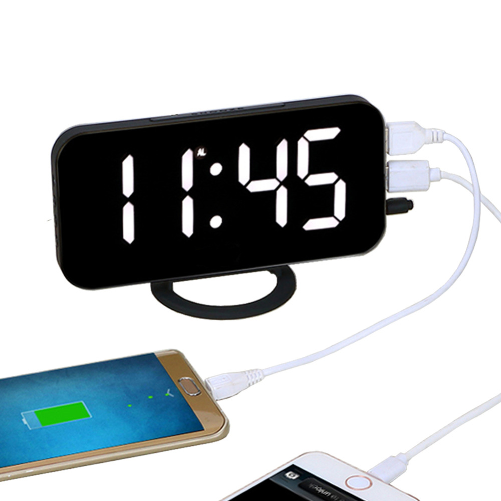 EAAGD Electronic LED Digital Desktop Decoration Alarm Clock with Dual USB Port for Phone, Automatically Adjust the Brightness