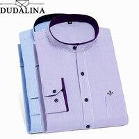 DUDALINA 2018 Men Shirt Mandarin Collar Long Sleeved Classical Twill Male Shirts Formal Business Shirt Man New Arrival