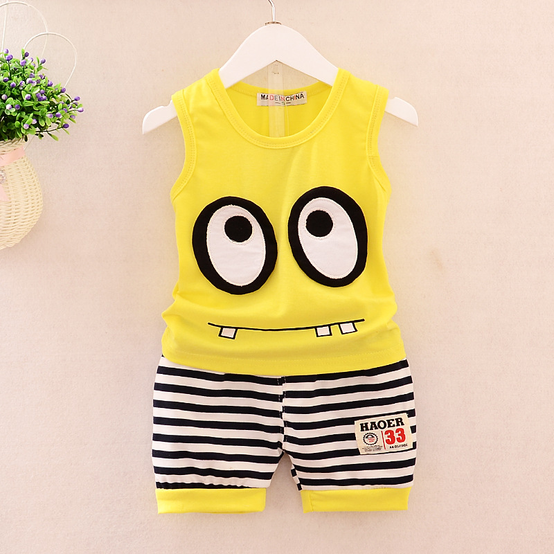 2018 new Summer children's clothing  Vest and shorts suits Boys Set Cotton products Kids for boys 2 pieces suit Boy's clothes