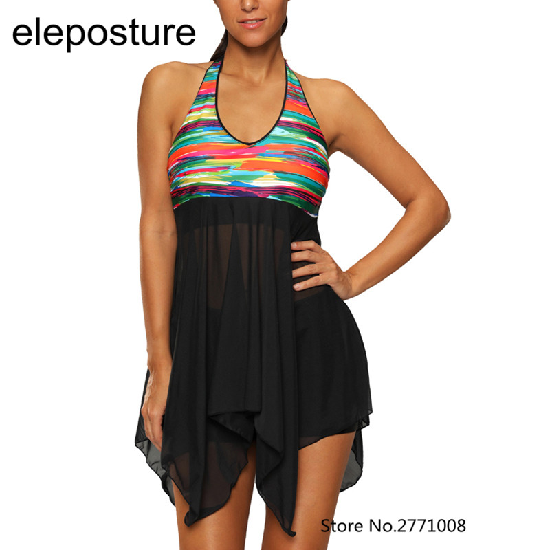 Prix pour Maillots de bain Robe Femmes Tankini Maillots de Bain Jupe Beachwear Maillot de Bain Avec Des Shorts Maillots de Bain 2017 Deux Pièces Tankini Plus La Taille S-5XL