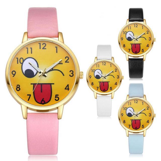Fashion Creative Emoji Unisex Watches Cute Girls Children Wrist Watch Kids Expre