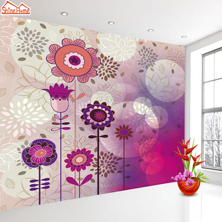 ShineHome-Sunflower Bloom Retro Wallpaper for 3d Rooms Walls Wallpapers for 3 d  Living Room Home Wall Paper Murals Mural Roll shinehome red rose bloom golden golden wallpaper for 3d rooms walls wallpapers for 3 d living room wall paper murals mural roll