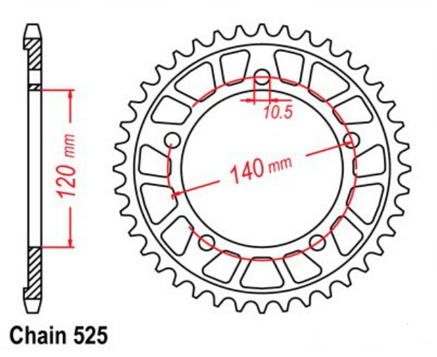 LOPOR TOP QUALITY ADEQUADO 525-45T Pinhão traseiro Para Suzuki Dl - Acessórios e peças para motos