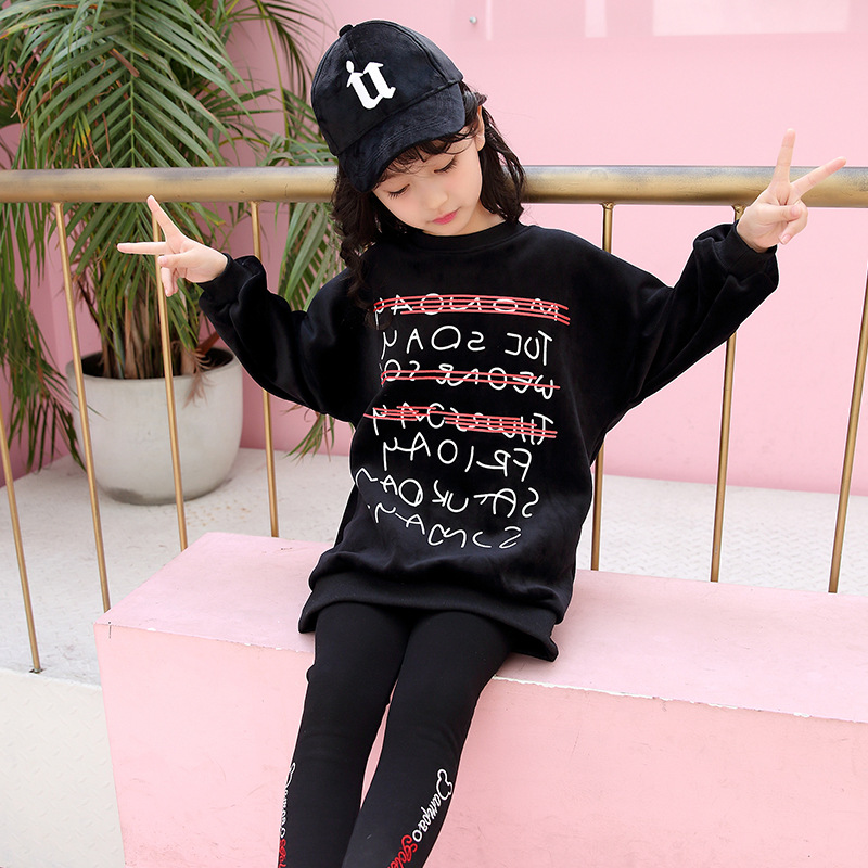 New Girls Sweatshirt Casual Hoodies Kids Letter T Shirt Kids Girl Hoodie Dress Cotton Pullover Outerwear Sport Kids Clothes