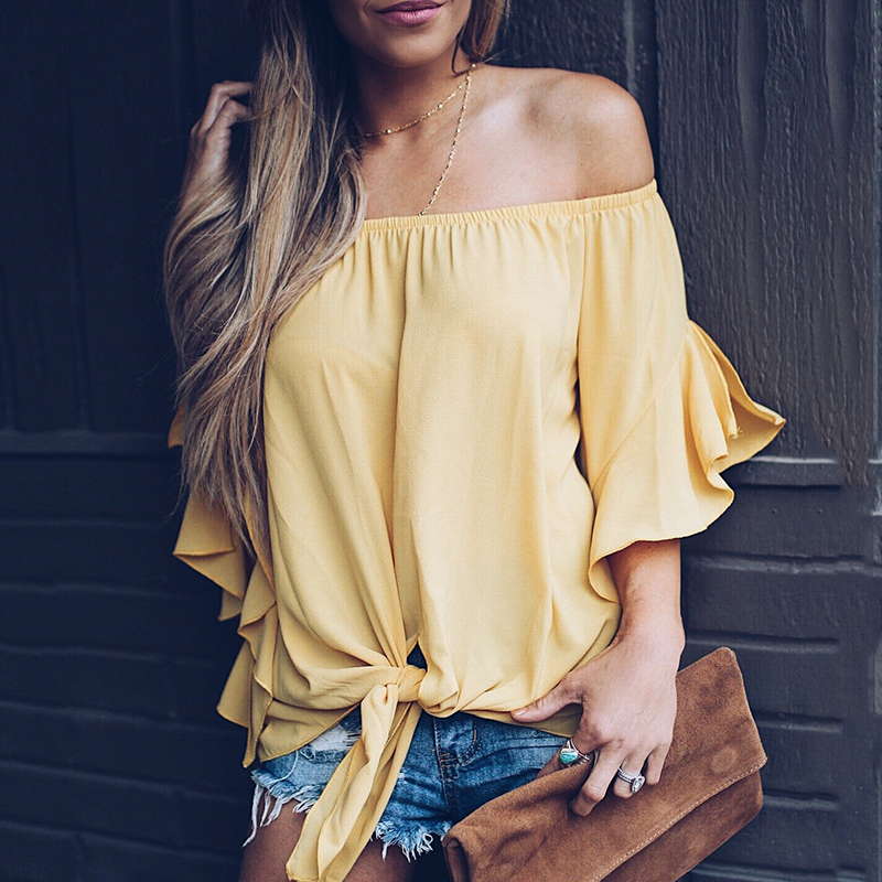 Women Summer Casual Tops Sexy Loose Slash Neck Half Flare