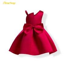 100pcs lot DHL Girls princess dress sleeveless Wedding dress kid bowPure color Children s clothes Party