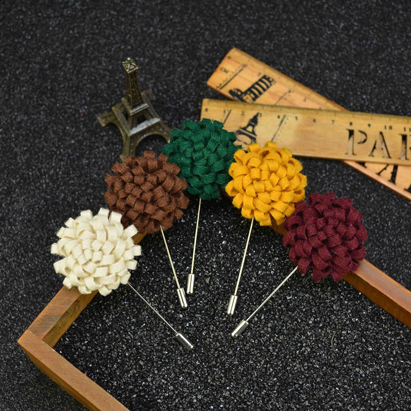 US $13 24 14% OFF Wholesale Woolen Long Label Pins Brooches Corsage  Handmade Fabric Lapel Pin Wedding Bouquet Clothing Accessories Mixed  10PCS/LOT-in