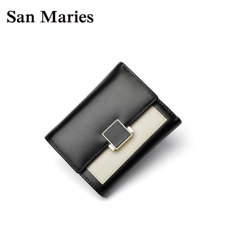San Maries Cow Leather Short Wallet Women Luxury Brand Famous Patchwork Women Wallets And Purses Female Coin Purse Credit Bags