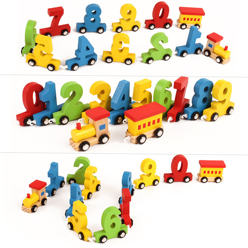 Us 1115 37 Offinfant Toddlers Wooden Toy Little Train Magnetic Toys Vehicles Colorful Digital 0 9 Trains Diecast Early Learning Education Gift In