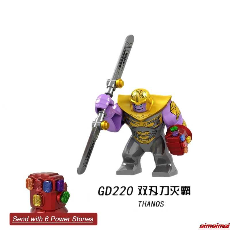 Legoing Marvel Thanos Infinity Gauntlet Power Stone Avengers Endgame Super HEROES ตัวเลขอาคารบล็อก Marvel Legoings Thanos