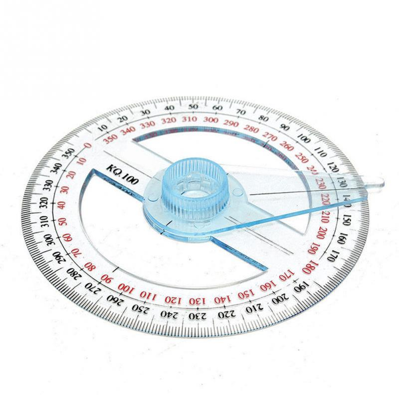 1 Pcs Portable All Circular 10cm Plastic 360 Degree Pointer Protractor Ruler Angle Finder Swing Arm For School Office Supplies