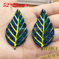 Free shipping New arrival 30pcs/lot 52*26mm Hole blue AB Big Leaf Resin Flatback Scrapbooking for phone/wedding/craft DIY