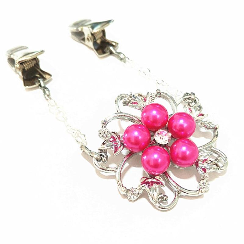 Broche de perlas de imitación Rosas y rojas, Pins de flores para mujer, suéter, cárdigan, Clip, joya de chal con diamantes de imitación, hebilla