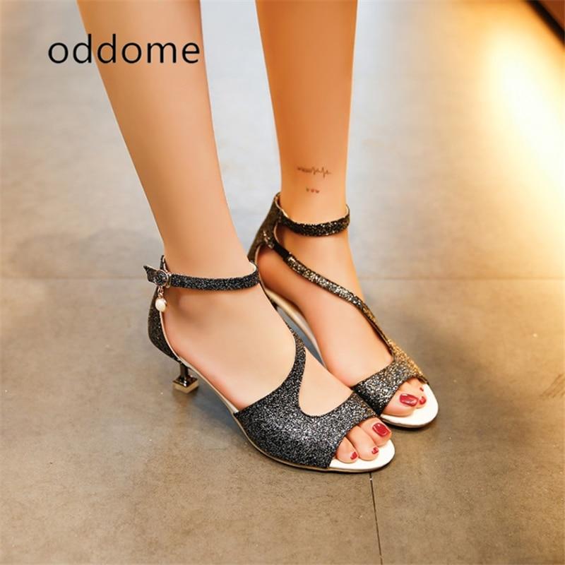 Modne poletne dame sandale ženske sponke pasu visoke pete Sandale - Ženski čevlji