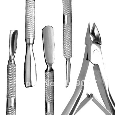 Нержавеющая сталь Nail Art кутикулы Clipper толкателя триммеры набор# NA010