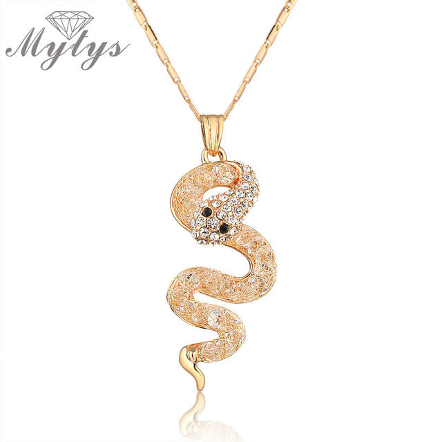 Mytys wire mesh filled crystal snake pendant necklace for women new mytys wire mesh filled crystal snake pendant necklace for women new arrival crystal gold chain necklace aloadofball Images