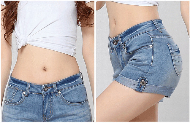 700e4ee8394 New 2015 summer denim shorts jeans women short skinny jeans hot pants size  26-32 cuffs stretch jeans woman shorts pants