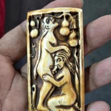 Редкая старая QingDyansty костяная статуя любви/скульптура
