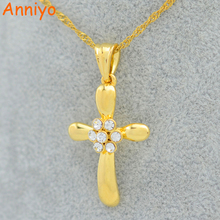 Anniyo Cross Necklace for Women/Girls, Gold Color Rhinestone Crucifix Jewelry Christian Catholic Pendant
