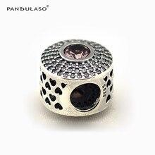 Pandulaso бусы для изготовления ювелирных изделий сияющий блеск розовое шарик Оригинал 925 стерлингового серебра Fit DIY Подвески Браслет