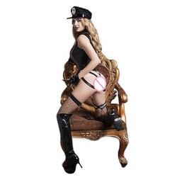 Di Cuoio del vinile Sexy Femminile Cop Ufficiale di Polizia Uniforme Poliziotte Costume di Halloween Per Adulti Delle Donne Della Polizia di Cosplay del Vestito Operato