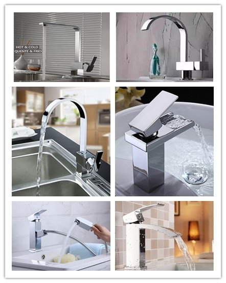 10 years guarantee brass square kitchen sink faucet mixer waterfall pull out basin tap hot and cold water with CE approved