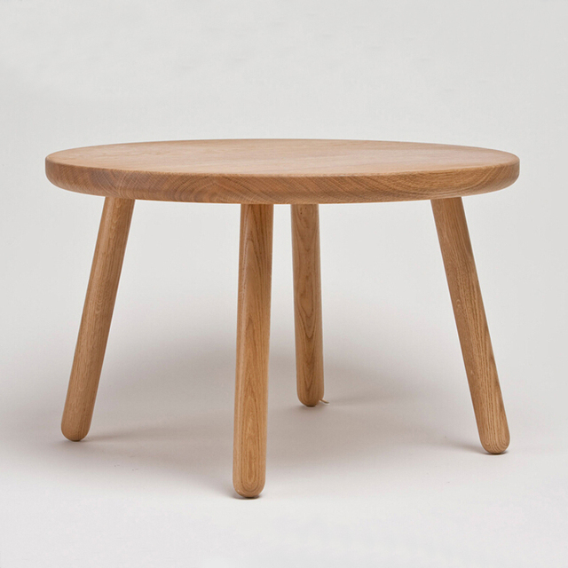 50 CM Round America Oak Wooden Coffee Table
