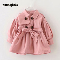 Spring Baby Girl Trench Coat Long Jacket With Belt Double Breasted Kids Overcoat Autumn Peacoat Children