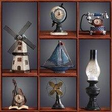 Decoración Retro Para el hogar, accesorios de Maison, decoración Vintage para cafetería, Bar, artesanía Shabby Chic de resina, gramófono, Péndulo de resina, cabujón