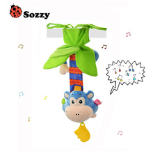 Sozzy New Design Monkey Baby Rattle with Melody Wind Up Music Box Toy Crib Stroller Hanging Baby Teether Pull Bell Plush Doll