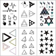 Wyuen Geometric Shapes Fake Tattoo Line Temporary Stickers for Adults Kids Body Art GG-001 Waterproof Tatoo Man Woman