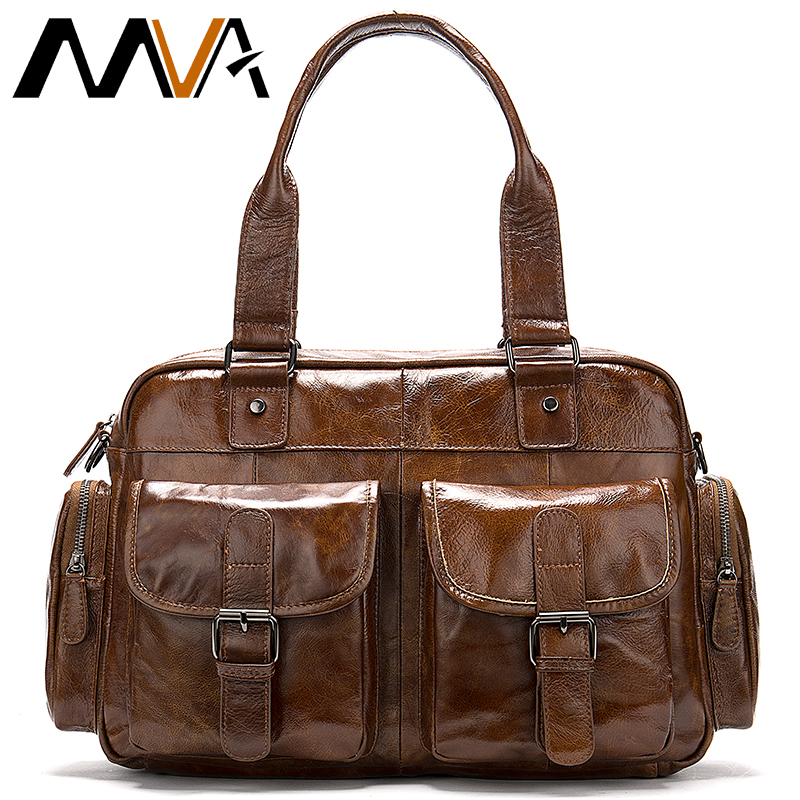 MVA Men's Briefcase Bag Handbags Business Men's Genuine Leather Bag Computer/Leather Laptop/Office Bag For Men Bag 15 Inch 8589