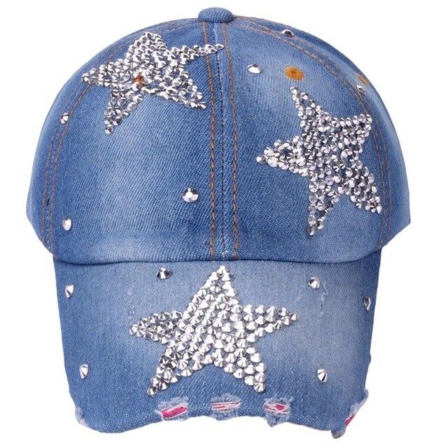 Women's adjustable five-pointed star baseball cap ladies fashion casual rhinestone denim baseball mesh hat casquette femme 8