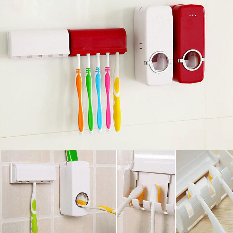 Automatic Toothpaste Squeezer + Toothbrush Holder Toothpaste Stand Dispenser Wall Mount Rack Sucker Bathroom Accessories Set image