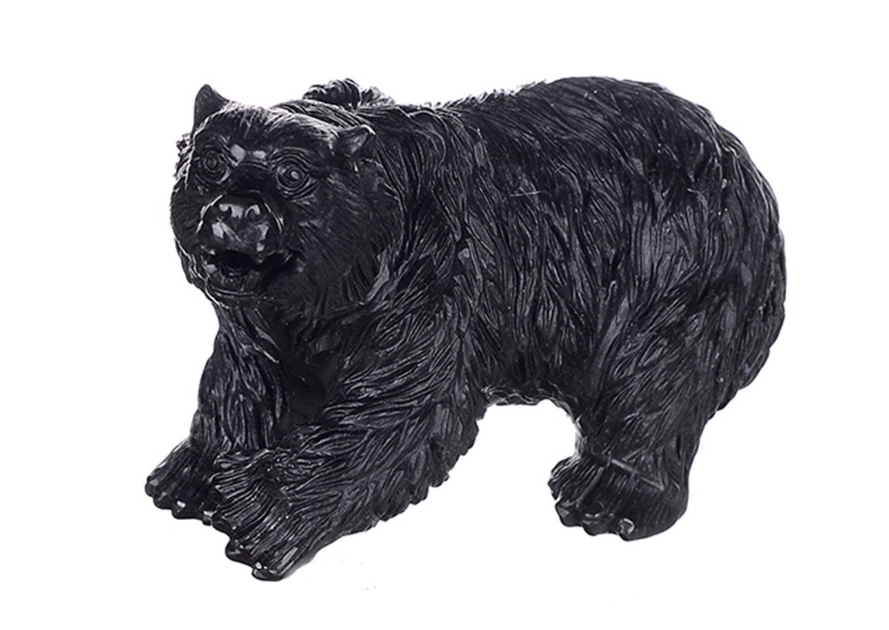14CM Natural Black Obsidian Polar Bear carving sculpture