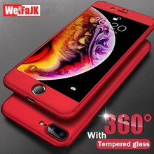 WeiFaJK 360 Full Protective Phone Case For iPhone 7 8 Plus 6 s Case Luxury Cover For iPhone XR Xs Max X Case With Tempered Glass(China)